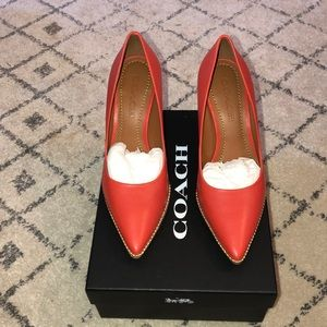 Coach NWT Red Parker Gold Ballchain Leather Heels